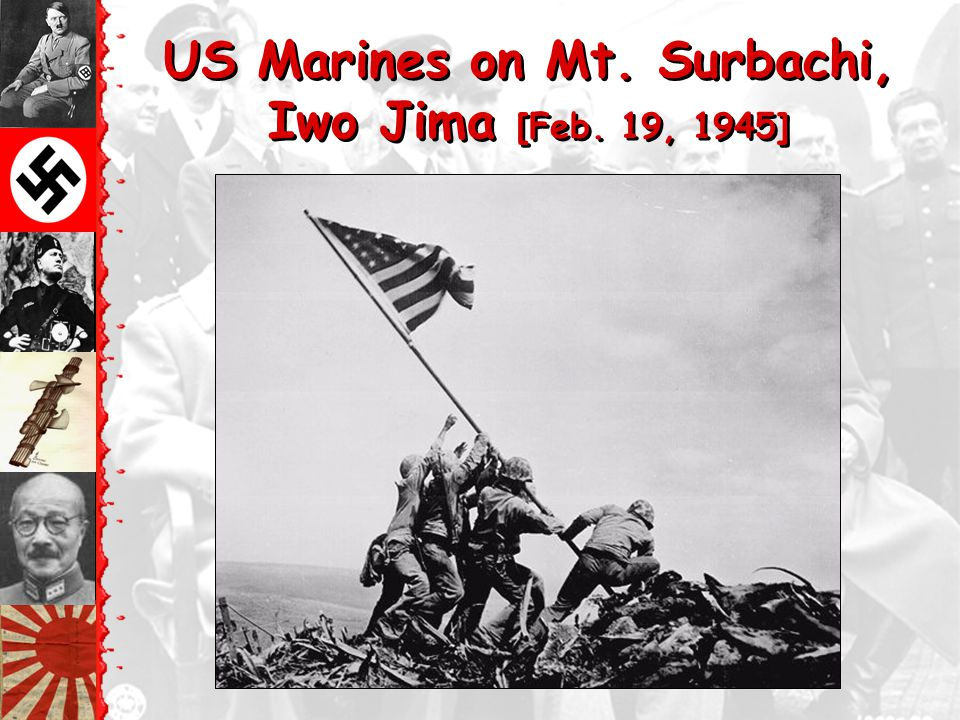 US Marines on Mt. Surbachi, Iwo Jima [Feb. 19, 1945]